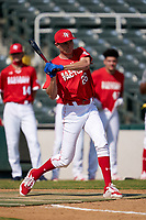 Benny Montgomery (26) participates in the home run derby before the Baseball Factory All-Star Classic at Dr. Pepper Ballpark on October 4, 2020 in Frisco, Texas.  Benny Montgomery (26), a resident of Lewisberry, Pennsylvania, attends Red Land High School.  (Ken Murphy/Four Seam Images)
