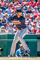 9 July 2017: Atlanta Braves outfielder Lane Adams in action against the Washington Nationals at Nationals Park in Washington, DC. The Nationals defeated the Braves to split their 4-game series. Mandatory Credit: Ed Wolfstein Photo *** RAW (NEF) Image File Available ***