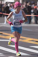 NEW YORK - NOVEMBER 7: Sally Meyerhoff of the USA approaches the 8 mile mark on 4th avenue in the 2010 New York City Marathon. Meyerhoff finished 27th in 2:41:00.
