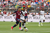East Hartford, CT - Saturday July 01, 2017: Dom Dwyer, Jerry Akaminko during an international friendly match between the men's national teams of the United States (USA) and Ghana (GHA) at Pratt & Whitney Stadium at Rentschler Field.
