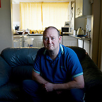 David Hesselton, 44.<br /> 'To sum it up I felt like shit [when I first went to a foodbank]  because I was a sponge. I felt like that all the time but what else are you supposed to do? I've used the food bank about 21 times. I couldn't give anything back so I gave my time and volunteered…. I know I am wanted and I know I can help; because I'm a happy, cheerful lad, it makes them cheerful and happy. I always have a good laugh with them. Back in 2013, I had never heard of them [foodbanks] but was sanctioned for 9 months [a penalty imposed on unemployment benefit for misdemeanours].  The 9 month sanction was when I walked out of work because I have been in employment less than six months, doing door work, security…..I would say over 50% of ours are sanctions.  Some of it can be drug and alcohol abuse, which we see…. They will walk from anywhere, I'd say if anyone's walking it will average 8-10 miles at least. I had a family in of eight and the lad came on his own and had walked from Ferry Hill which is about 6-8 miles, so fourteen mile round trip! ….. We have to use our own judgement if they are genuine or not.  The primary aim of the food bank is if the need is great we will give it- even if they don't have a voucher. If the need is not great and they have no voucher, we can use our own judgement and not give it. <br /> Most of Brandon is council [housing], its really low employment, they are all practically unemployed. They don't care here much for work. Put a bomb on brandon and it wouldn't make much difference, I'm being serious.<br /> At the foodbank, there's a computer there to do job search, they can learn english and maths if they want to, there's stuff their for the kids to play with. On my jobseekers [allowance] I can cover all my bills, it's only on sanctions you find it more difficult…..I would tell some of them [politicans] to come out and see it for themselves. And have a go at it and say right, you sign [for unemployment benefit] on for a fortnight and