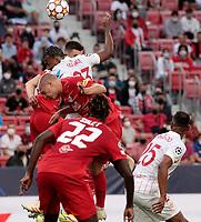 14th September 2021; Sevilla, Spain: UEFA Champions League football,  Sevilla FC versus RB Salzburg;  Jules Kounde of Sevilla and Rasmus Kristensen of Salzburg leap for the crossed ball