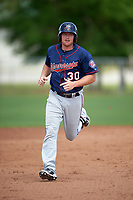 Minnesota Twins Travis Harrison (30) runs the bases after hitting a home run during a minor league Spring Training game against the Baltimore Orioles on March 16, 2016 at CenturyLink Sports Complex in Fort Myers, Florida.  (Mike Janes/Four Seam Images)