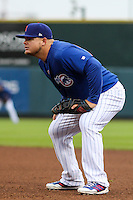 Iowa Cubs first baseman Dan Vogelbach (20) during a Pacific Coast League game against the Colorado Springs Sky Sox on May 1st, 2016 at Principal Park in Des Moines, Iowa.  Colorado Springs defeated Iowa 4-3. (Brad Krause/Four Seam Images)