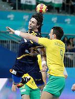 Spain's Antonio Garcia Robledo (l) and Australia's Martin Najdovski during 23rd Men's Handball World Championship preliminary round match.January 15,2013. (ALTERPHOTOS/Acero) /NortePhoto