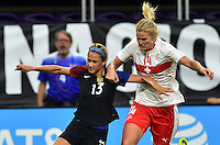 Minneapolis, MN - October 23, 2016: The U.S. Women's National team go up 5-1 over Switzerland during an international friendly game at U.S. Bank Stadium.