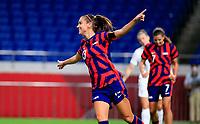 SAITAMA, JAPAN - JULY 24: Alex Morgan #13 of the United States scores a goal and celebrates during a game between New Zealand and USWNT at Saitama Stadium on July 24, 2021 in Saitama, Japan.