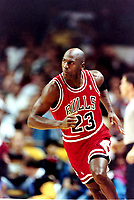 NBA basketball great Michael Jordan on the court against the Golden State Warriors Wednesday Nov. 20 1991. Jordan and the Bulls won the game 112-108. Jordan scored 35 points. (Photo by Alan Greth)