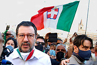 Matteo Salvini<br /> Roma June 2nd 2020. Italy, Piazza del Popolo. Demonstration of the right parties Lega Nord per Salvini, Fratelli d'Italia and Forza Italia against the government in occasion of the anniversary of the Republic. The protesters have exposed a huge Italian flag.<br /> Photo Samantha Zucchi Insidefoto