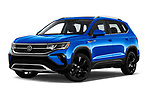 Stock pictures of low aggressive front three quarter view of 2022 Volkswagen Taos SEL 5 Door SUV Low Aggressive