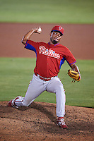 GCL Phillies relief pitcher Jose Nin (72) during the second game of a doubleheader against the GCL Blue Jays on August 15, 2016 at Florida Auto Exchange Stadium in Dunedin, Florida.  GCL Phillies defeated the GCL Blue Jays 4-0.  (Mike Janes/Four Seam Images)