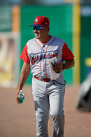 Williamsport Crosscutters manager Hector Berrios (21) during a NY-Penn League game against the Batavia Muckdogs on August 25, 2019 at Dwyer Stadium in Batavia, New York.  Williamsport defeated Batavia 10-3.  (Mike Janes/Four Seam Images)
