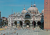 San Marco, begun in 1063 AD. Venice, Italy. Italo-Byzantine and Gothic style.  Domenico/Contarini, architects. Most famous of city's churches.
