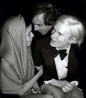Bianca Jagger Steve Rubell Andy Warhol 1978<br /> Photo By Adam Scull/PHOTOlink.net