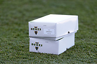 """Boxes of grade """"a' Duke cricket balls sit pitchside during Warwickshire CCC vs Essex CCC, LV Insurance County Championship Group 1 Cricket at Edgbaston Stadium on 22nd April 2021"""