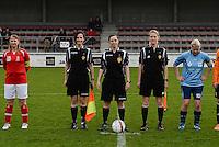 Finale Beker van West-Vlaanderen Dames : FC Menen United - KEG Gistel : scheidsrechterstrio met Joline Delcroix (links) , Kim Depickere (midden) en Heidi Houtthave (rechts)<br /> foto VDB / BART VANDENBROUCKE