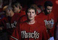 Apr 10, 2007; Phoenix, AZ, USA; Arizona Diamondbacks shortstop (6) Stephen Drew in the dugout during the game against the Cincinnati Reds at Chase Field in Phoenix, AZ. Mandatory Credit: Mark J. Rebilas