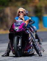May 4, 2019; Commerce, GA, USA; NHRA pro stock motorcycle rider Angie Smith during qualifying for the Southern Nationals at Atlanta Dragway. Mandatory Credit: Mark J. Rebilas-USA TODAY Sports