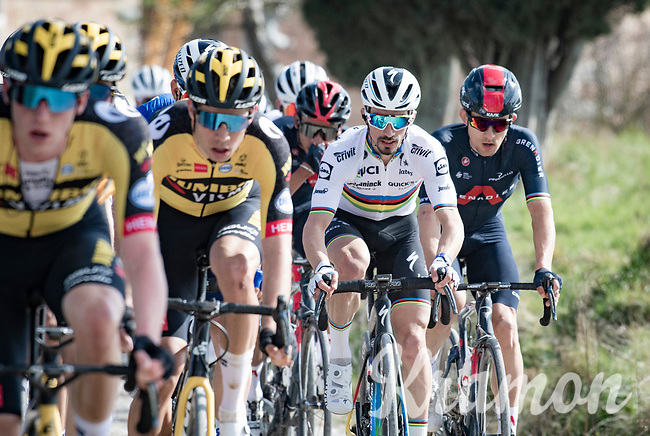 3 former Strade winners in a row: Wout van Aert (BEL/Jumbo-Visma), World Champion Julian Alaphilippe (FRA/Deceuninck - QuickStep) & former World Champion Michal Kwiatkowski (POL/INEOS Grenadiers)<br /> <br /> 15th Strade Bianche 2021<br /> ME (1.UWT)<br /> 1 day race from Siena to Siena (ITA/184km)<br /> <br /> ©kramon
