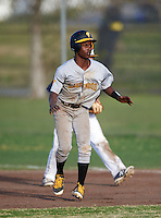 Lakewood Spartans third baseman Dontae Mitchell (13) during a game against the Boca Ciega Pirates at Boca Ciega High School on March 2, 2016 in St. Petersburg, Florida.  Boca Ciega defeated Lakewood 2-1.  (Mike Janes/Four Seam Images)