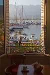 View from French Cafe, French Cafe; Calvi, Coastal towns in Corsica, Haute Corse, Corsica, France, Mediterranean Coast,