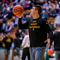 18 February 2018: University of Vermont Catamount Guard Everett Duncan, a Redshirt Sophomore from Evansville, IN, warms up prior to facing the Hartford Hawks at Patrick Gymnasium in Burlington, Vermont. The Catamounts fell to the Hawks 69-68 in their America East Conference matchup. Mandatory Credit: Ed Wolfstein Photo *** RAW (NEF) Image File Available ***