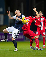19th December 2020; Dens Park, Dundee, Scotland; Scottish Championship Football, Dundee FC versus Dunfermline; Charlie Adam of Dundee challenges for the ball with Steven Whittaker of Dunfermline Athletic