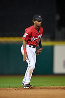 Billings Mustangs shortstop Reyny Reyes (17) during a Pioneer League game against the Grand Junction Rockies at Dehler Park on August 15, 2019 in Billings, Montana. Billings defeated Grand Junction 11-2. (Zachary Lucy/Four Seam Images)