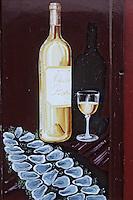 Europe/France/Aquitaine/33/Gironde/Bordeaux: Enseigne de restaurant quai de Bacalan (Huitres et bouteille de blanc)