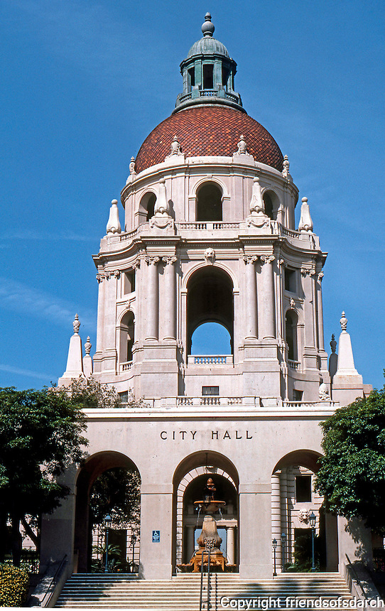 Pasadena CA: Pasadena City Hall--Eastern Elevation--Euclid St. entrance. John Bakewell, Jr. & Arthur Browne, Jr. of San Francisco, 1925-27. Photo '87.