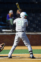 Corey Bird (31) of the Marshall Thundering Herd at bat against the Georgetown Hoyas at Wake Forest Baseball Park on February 15, 2014 in Winston-Salem, North Carolina.  The Thundering Herd defeated the Hoyas 5-1.  (Brian Westerholt/Four Seam Images)
