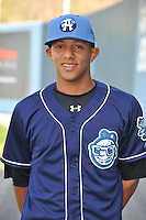 Cristhian Adames #2 of the Asheville Tourists poses during media day at McCormick Field on April 4, 2011 in Asheville, North Carolina.  Photo by Tony Farlow / Four Seam Images..