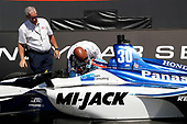 Takuma Sato, Rahal Letterman Lanigan Racing Honda is congratulated by Bobby Rahal, podium