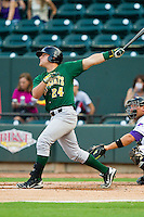Josh Elander (24) of the Lynchburg Hillcats follows through on his swing against the Winston-Salem Dash at BB&T Ballpark on August 5, 2013 in Winston-Salem, North Carolina.  The Dash defeated the Hillcats 5-0.  (Brian Westerholt/Four Seam Images)