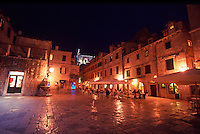 Croatia. Dubrovnik Old City. Restaurants in Gundulic's Square (Gunduliceva Polijana) at night.