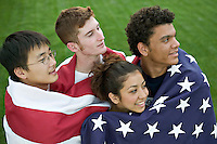 American youth patriotism and diversity (Vietnamese, Anglo, Hispanic, Black). MR