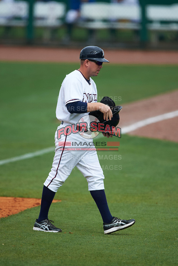 NW Arkansas Naturals hitting coach Brandon Moore (4) during a game against the San Antonio Missions on May 31, 2015 at Arvest Ballpark in Springdale, Arkansas.  NW Arkansas defeated San Antonio 3-1.  (Mike Janes/Four Seam Images)
