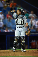 New Britain Rock Cats catcher Jan Vazquez (11) during a game against the Reading Fightin Phils on August 7, 2015 at FirstEnergy Stadium in Reading, Pennsylvania.  Reading defeated New Britain 4-3 in ten innings.  (Mike Janes/Four Seam Images)