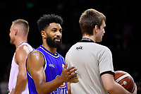 Dion Prewster of the Wellington Saints during the round one NBL match between the Wellington Saints and the Canterbury Rams at TSB Bank Arena, Wellington, New Zealand on Friday 30 April 2021.<br /> Photo by Masanori Udagawa. <br /> www.photowellington.photoshelter.com