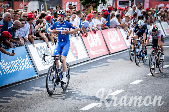 Alvaro Hodeg (COL/Deceuninck Quick Step) wins the sprint and beats Jasper Philipsen (BEL/UAE) and Rory Townsend (IRL/Canyon DHB) <br /> <br /> Heistse Pijl 2019<br /> One Day Race: Turnhout > Heist-op-den-Berg 194km (UCI 1.1)<br /> ©kramon