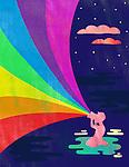 Illustrative image of man looking rainbow through binoculars representing aspiration