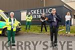 Staff from Skellig Six 18 Distillery in Cahersiveen began their roll out of Hand Sanitisers to South Kerry Emergency Services on Friday, pictured here l-r; Michael Musgrave, Vernon Devane, Stephen Kelleghan, Patrick Sugrue & Noma O'Shea.