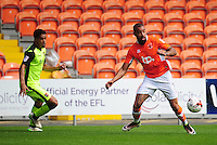 Blackpool's Colin Daniel under pressure from Exeter City's Troy Brown<br /> <br /> Photographer Kevin Barnes/CameraSport<br /> <br /> Football - The EFL Sky Bet League Two - Blackpool v Exeter City - Saturday 6th August 2016 - Bloomfield Road - Blackpool<br /> <br /> World Copyright © 2016 CameraSport. All rights reserved. 43 Linden Ave. Countesthorpe. Leicester. England. LE8 5PG - Tel: +44 (0) 116 277 4147 - admin@camerasport.com - www.camerasport.com