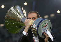 Calcio, Serie A: Juventus vs Napoli. Torino, Juventus Stadium, 23 maggio 2015. <br /> Juventus' coach Massimiliano Allegri celebrates the victory of the Scudetto at the end of the Italian Serie A football match between Juventus and Napoli at Turin's Juventus Stadium, 23 May 2015.<br /> UPDATE IMAGES PRESS/Isabella Bonotto