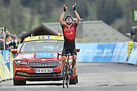 5th June 2021; La Plagne, Tarentaise, France;  PADUN Mark (UKR) of BAHRAIN VICTORIOUS points  to the skies after winning stage 7 of the 73th edition of the 2021 Criterium du Dauphine Libere cycling race, a stage of 171km with start in Saint-Martin-Le-Vinoux and finish in La Plagne