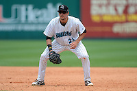 Jupiter Hammerheads first baseman Ryan Rieger (23) during a game against the Tampa Yankees on July 18, 2013 at Roger Dean Stadium in Jupiter, Florida.  Jupiter defeated Tampa 6-1.  (Mike Janes/Four Seam Images)