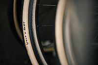personalised tires for CX World Champion Wout van Aert (BEL/Crelan-Charles)<br /> <br /> Belgian National CX Championships / Koksijde 2018