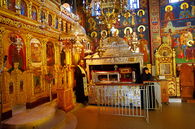 The shrine and complete and incorrupted relics of  St. Gerasimos of Cephalonia [ 1509 ] in the old Byzantine nunery of Omala. Kefalonia, Ionian Islands, Greece.