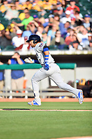 Biloxi Shuckers second baseman Javier Betancourt (7) runs to first base during a game against the Tennessee Smokies at Smokies Stadium on May 26, 2017 in Kodak, Tennessee. The Smokies defeated the Shuckers 3-2. (Tony Farlow/Four Seam Images)