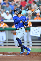 Biloxi Shuckers third baseman Jake Gatewood (7) swings at a pitch during a game against the Tennessee Smokies at  on August 10, 2019 in Kodak, Tennessee. The Shuckers defeated the Smokies 7-3. (Tony Farlow/Four Seam Images)